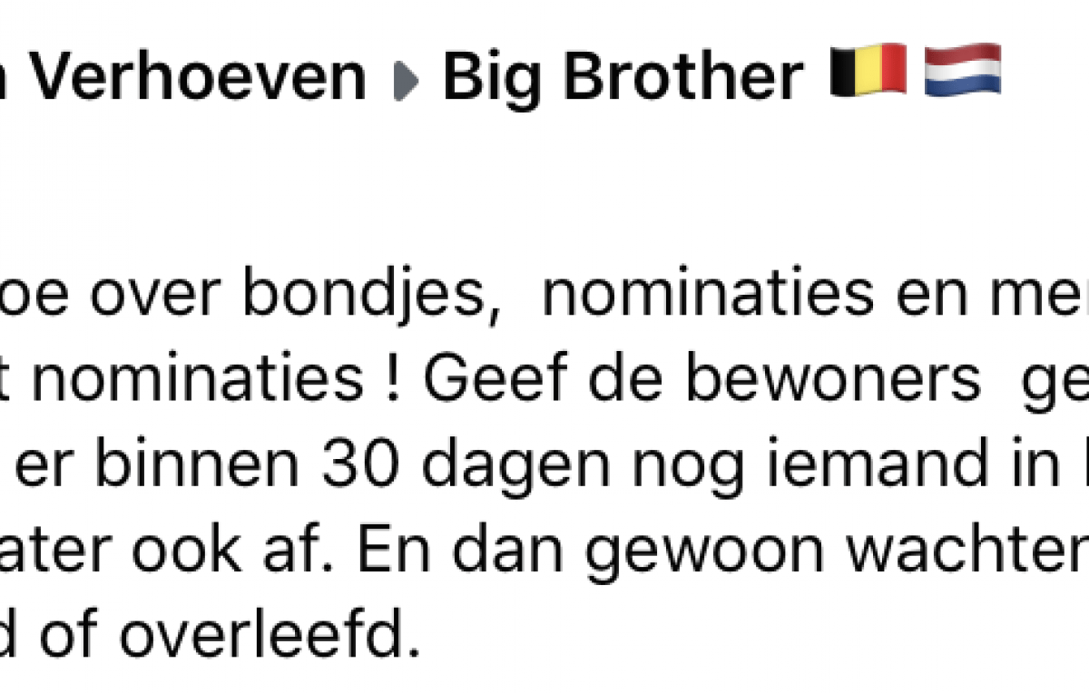 Big Brother Peter Van de Veire